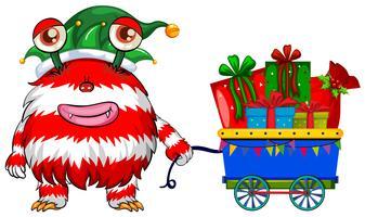 Kerstthema met monster en cadeautjes