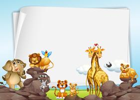 Paper background with wild animals