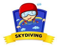 Label design with man doing skydiving