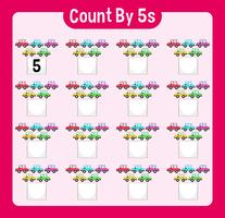 Math worksheet four counting by five with cars