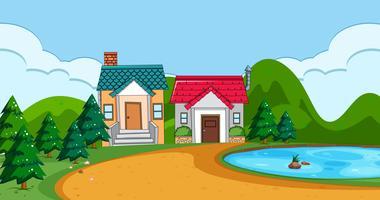 Eine flache ländliche Hauslandschaft