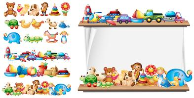 Muchos tipos de juguetes y plantillas de papel.