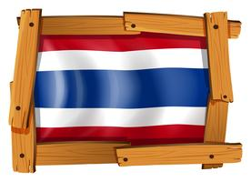 Flag of Thailand in wooden frame