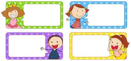 Rótulos de desenhos com menino e menina