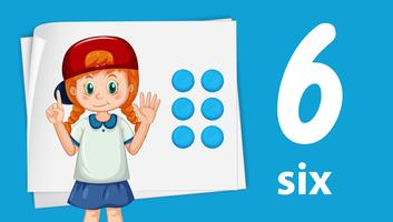 Girl showing number six vector
