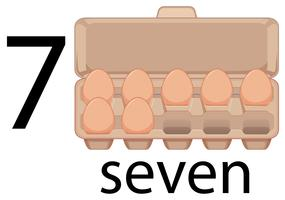 Seven eggs in carton