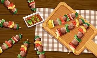 Meat skewer kebabs aerial view