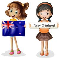 Happy girls with flag of New Zealand