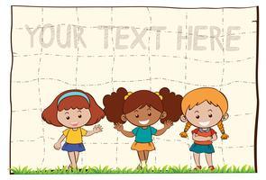 Fundo de papel com três meninas felizes