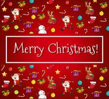 Vrolijke Kerstkaart met santa en ornamenten
