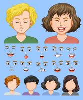 Conjunto de expresión facial masculina y femenina.