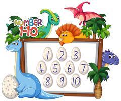 Matemáticas contando el número de dinosaurio