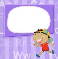 Modello di confine con bambino su sfondo viola