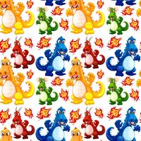Angry dinosaur seamless pattern vector