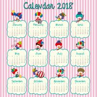 2018 calendar design with happy clowns