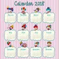 Diseño de calendario 2018 con payasos felices.