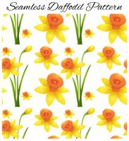 Seamless design with yellow daffodil flowers vector