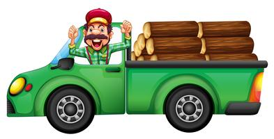 A lumberjack on a car on white background