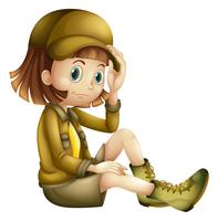 Safari Girl on White Background vector