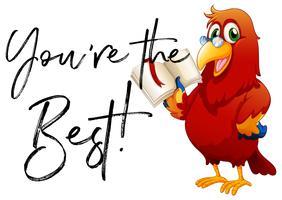 Frase você é o melhor com papagaio lendo livro