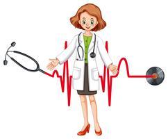 Médico con estetoscopio y latidos del corazón.