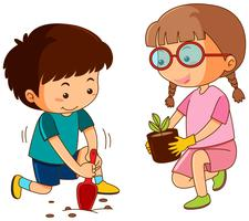 Boy and girl planting in garden