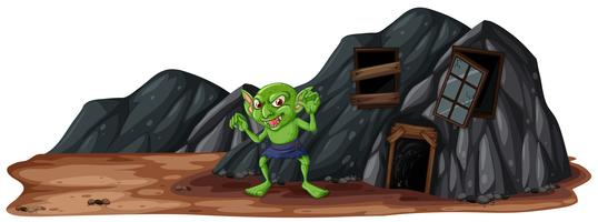 A Scary Goblin Next to Cave vector