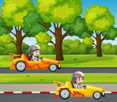 Two racers racing car on the road