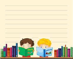 Plantilla de papel con niños leyendo libros
