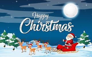 Santa riding sleigh on snow