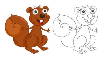 Animal doodle outline for squirrel
