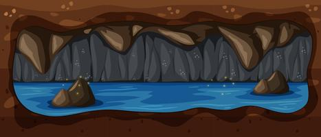 Scène de rivière sombre cave souterraine