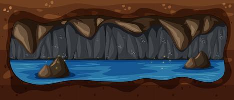 Dark Underground Cave River Scene