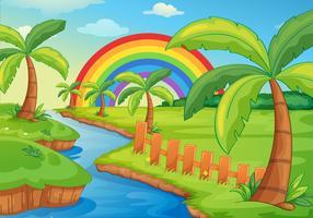 Schöne Flusslandschaft mit Regenbogen