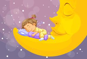 Little girl sleeping on the moon