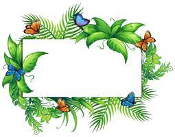 Grens sjabloon met vlinders en bladeren