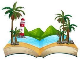 Tema della spiaggia estiva del libro aperto