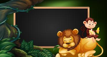 Grens sjabloon met leeuw en aap