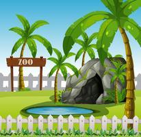 An empthy exhibit zoo