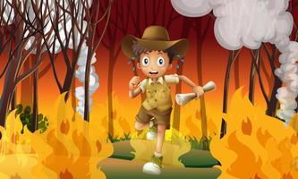 Explorateur forestier à l'abri d'un feu de forêt