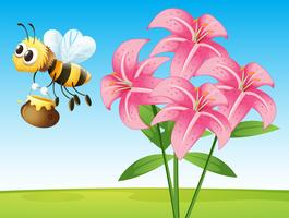 Scene with lily and bee vector