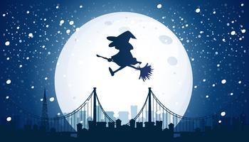 Bruxa voando sobre a lua