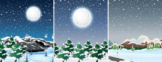 Conjunto de paisagem ao ar livre de inverno