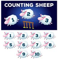 A math counting sheep vector