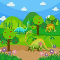 Trois dinosaures dans la forêt