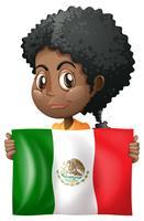 Ragazza che tiene la bandiera del Messico