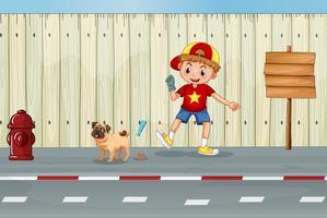 Un bon enfant nettoyage chien caca