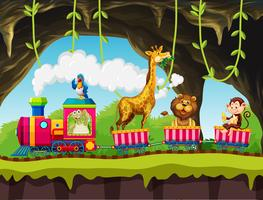 Animals riding train in nature vector