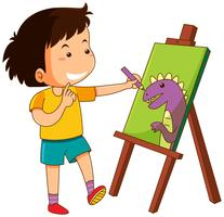 Little boy drawing dinosaur on canvas