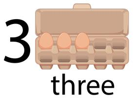 Three egg in carton